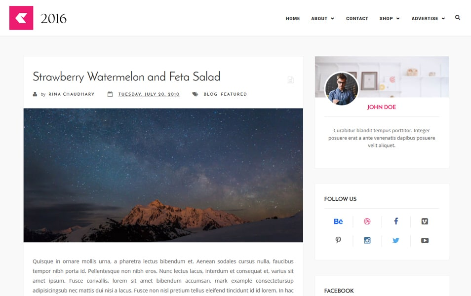 2016 Responsive Blogger Template