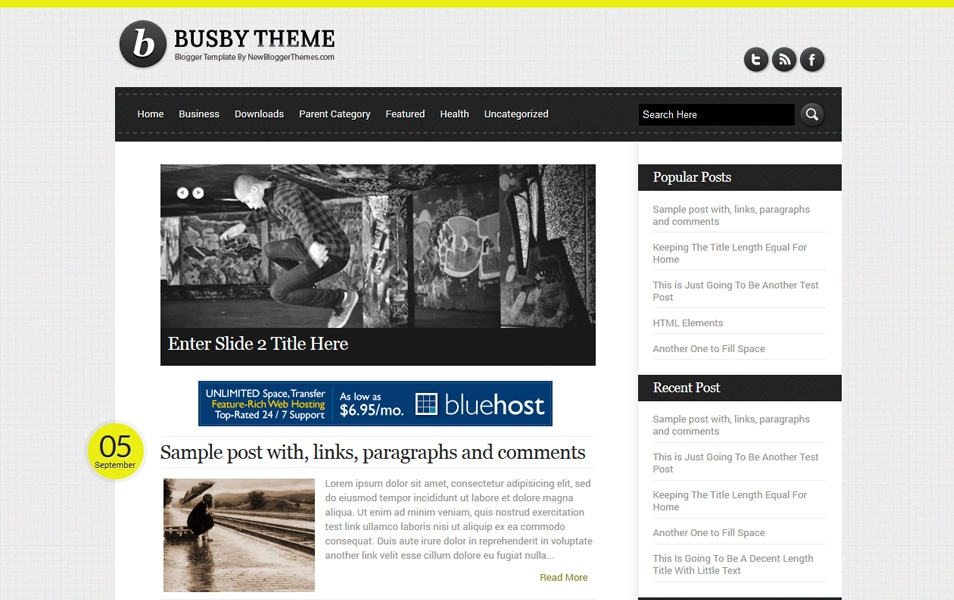Busby Responsive Blogger Template