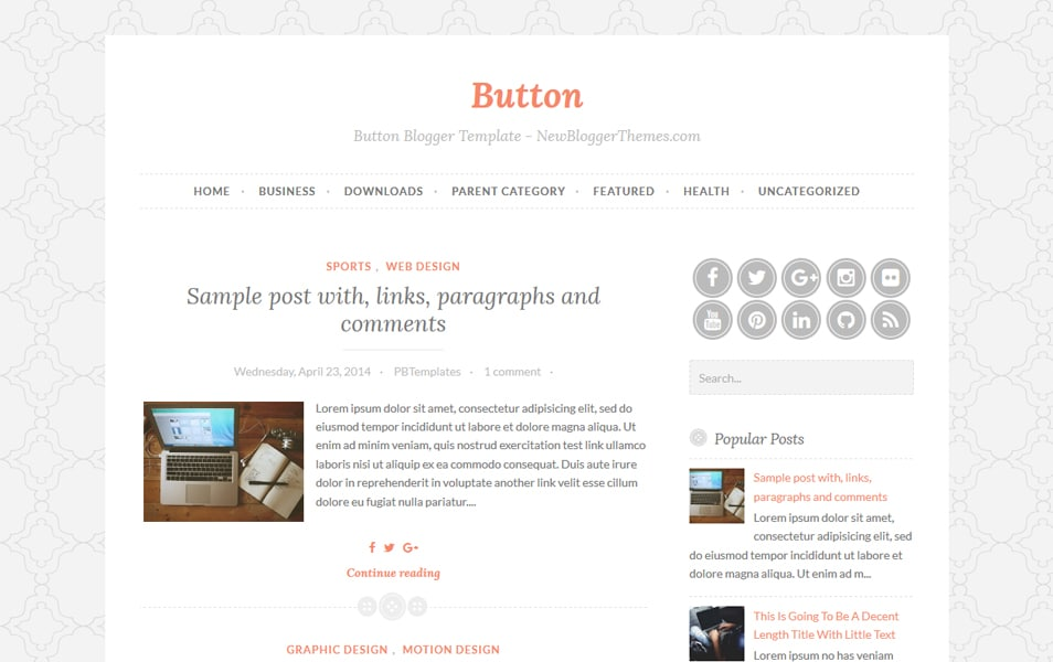 Button Responsive Blogger Template