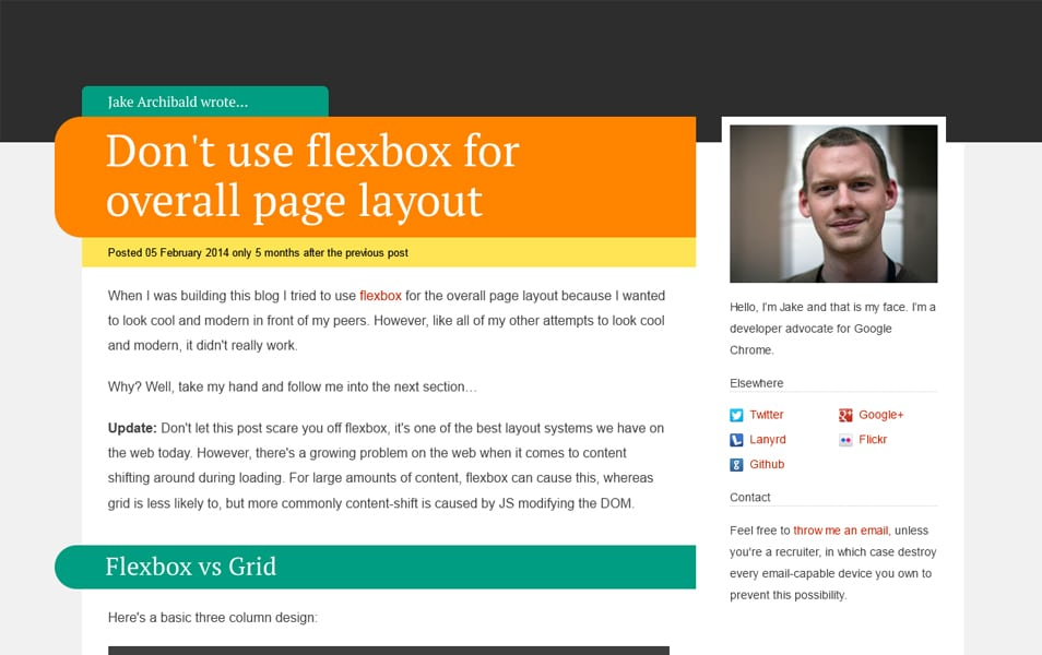 Don't use flexbox for overall page layout