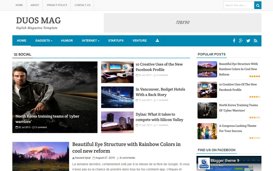 Duos Mag Responsive Blogger Template