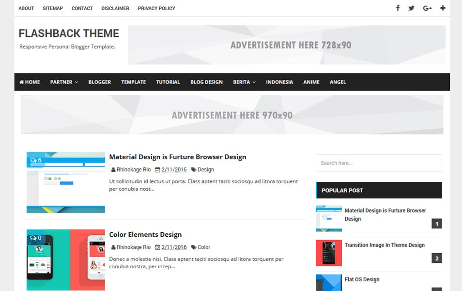 Flashback Responsive Blogger Template