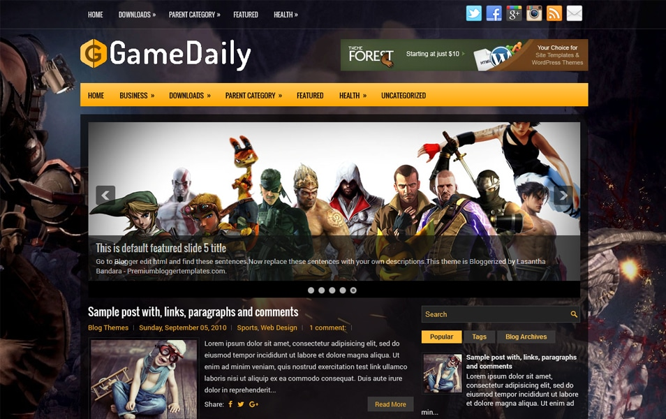 GameDaily Responsive Blogger Template