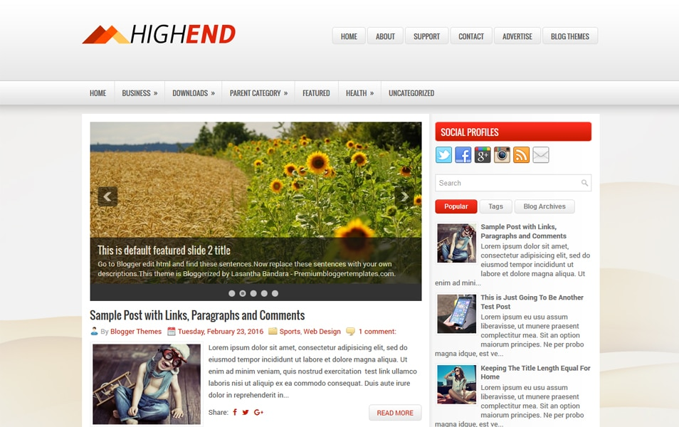 HighEnd Responsive Blogger Template