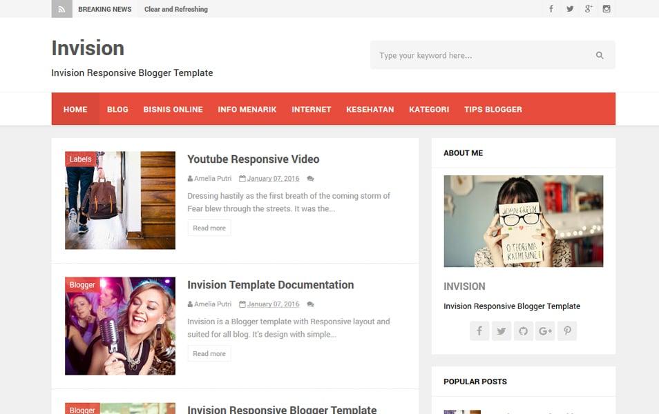 Invision Responsive Blogger Template