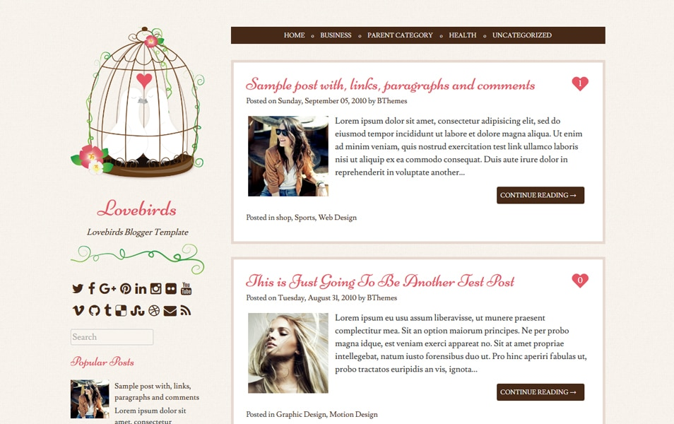 Lovebirds Responsive Blogger Template