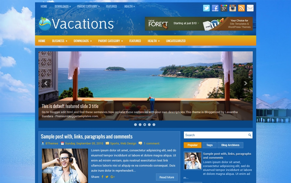 Vacations Responsive Blogger Template