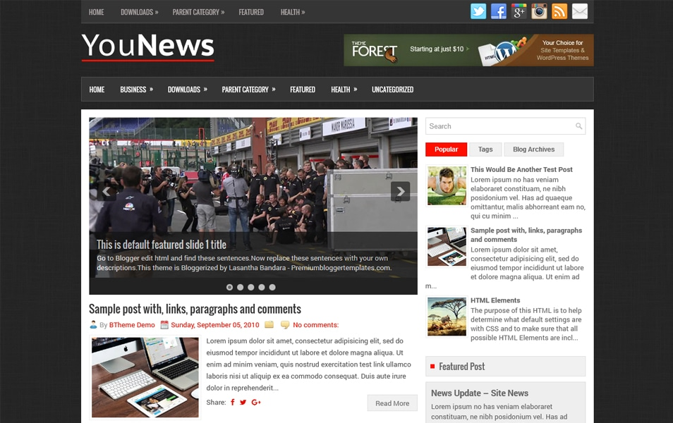 YouNews Responsive Blogger Template