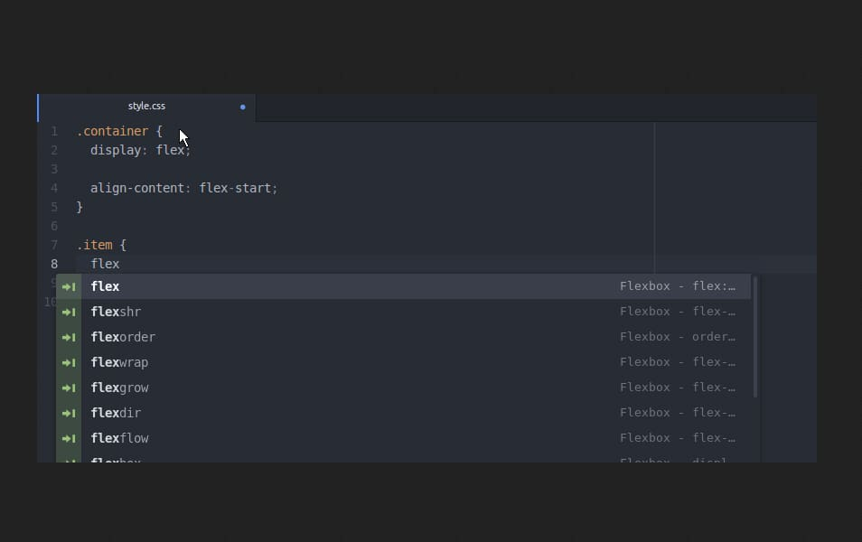 CSS Flexbox snippets for Atom