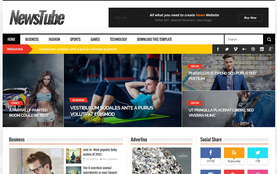 NewsTube Responsive Blogger Template