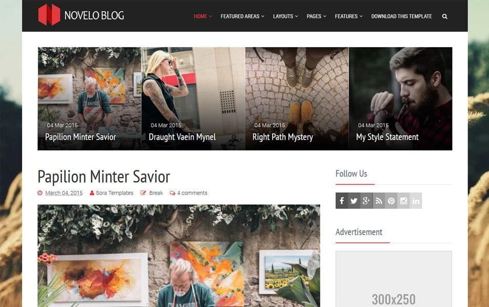 Novelo Blog Responsive Blogger Template