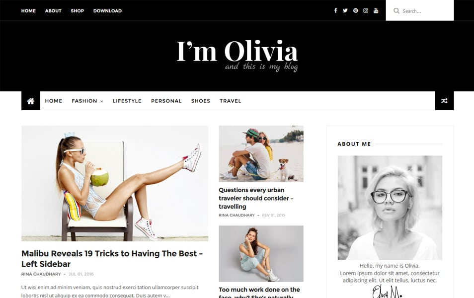 Olivia Responsive Blogger Template