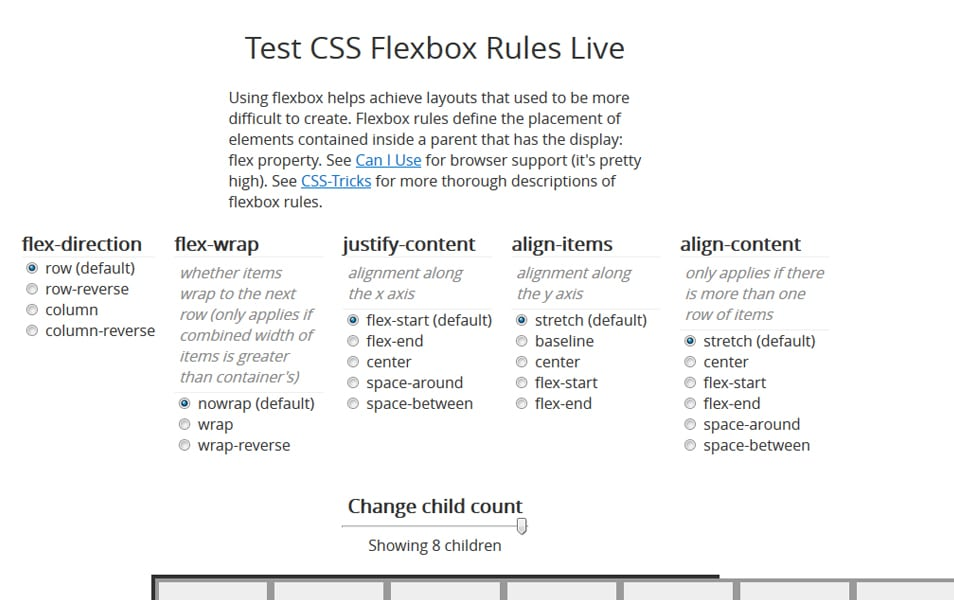 Test CSS Flexbox Rules Live