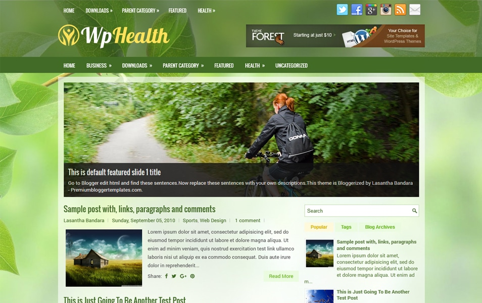 WpHealth Responsive Blogger Template