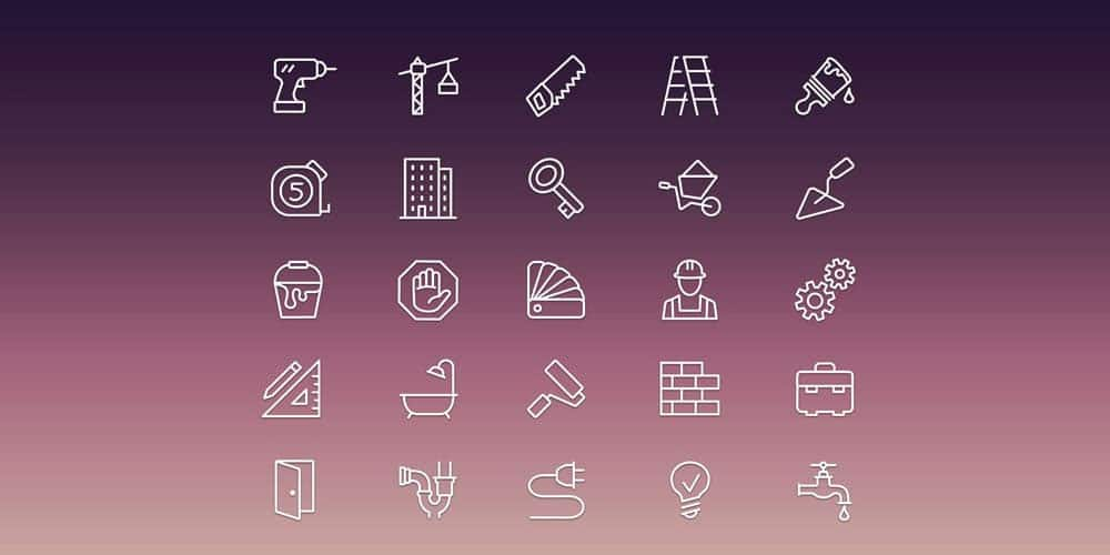 Construction Icon Set PSD