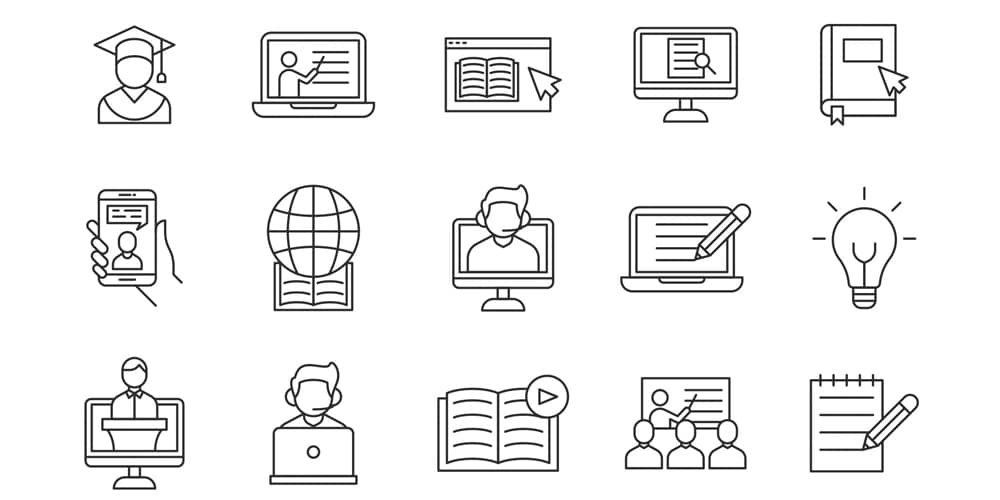 E learning Vector Icons