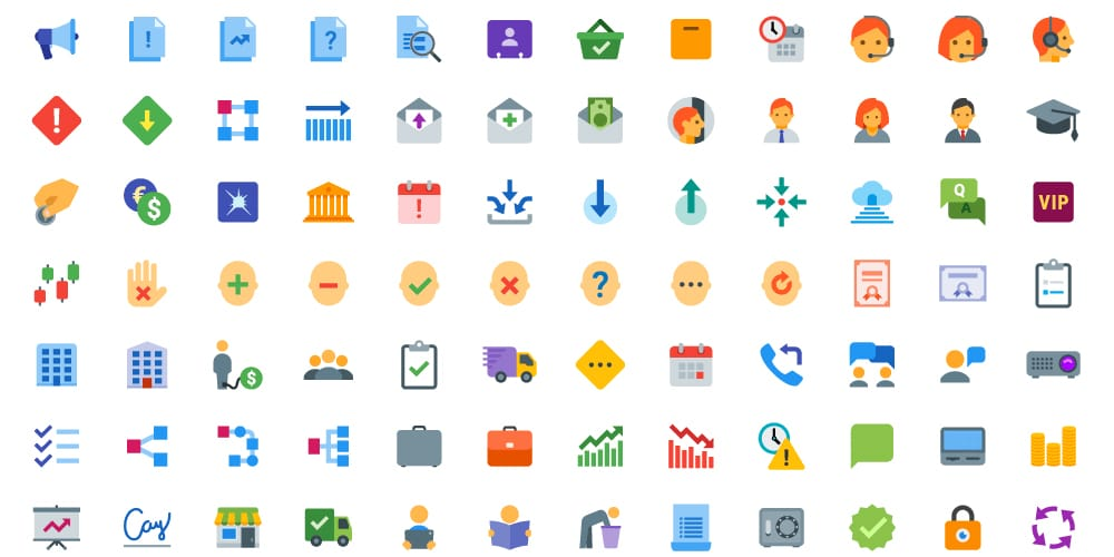 Flat Color Business Icons
