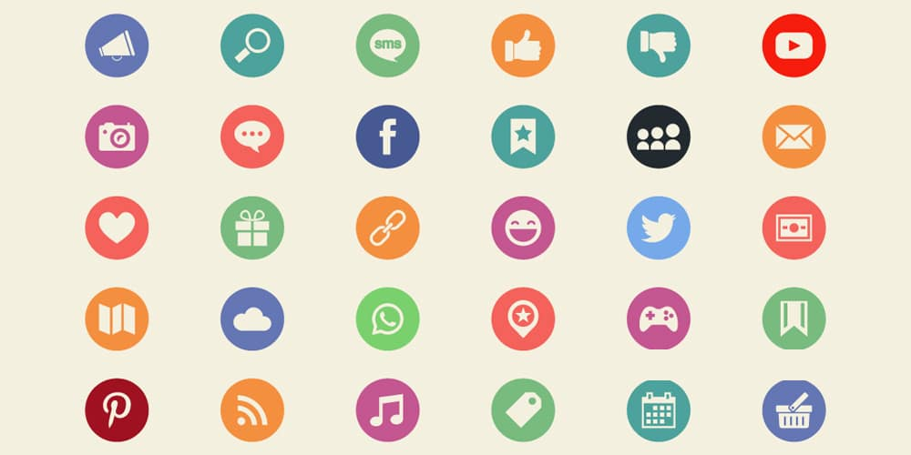 Flat Social Media and Web Icons