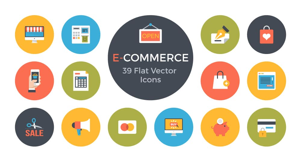 Free E-Commerce Flat Vector Icons