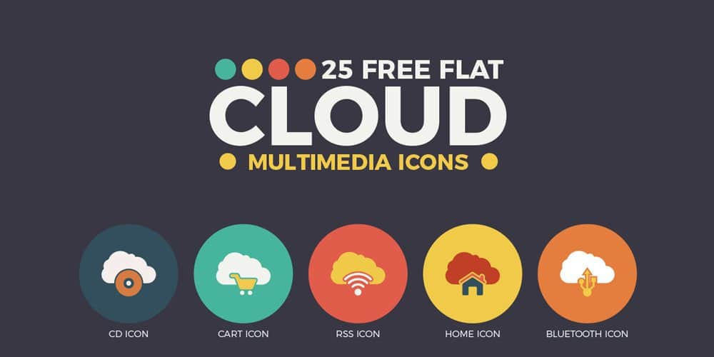 Free Flat Cloud Multimedia Web Icons