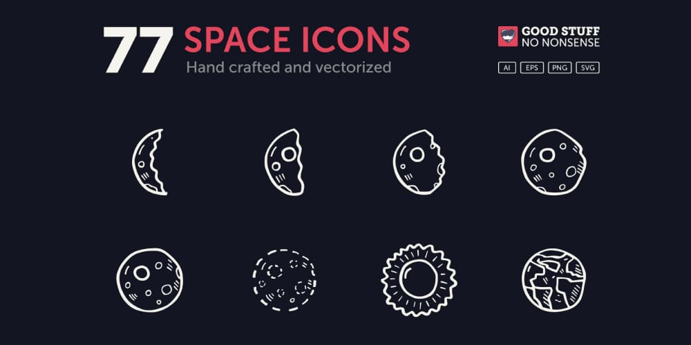 Free Hand Drawn Space Icons