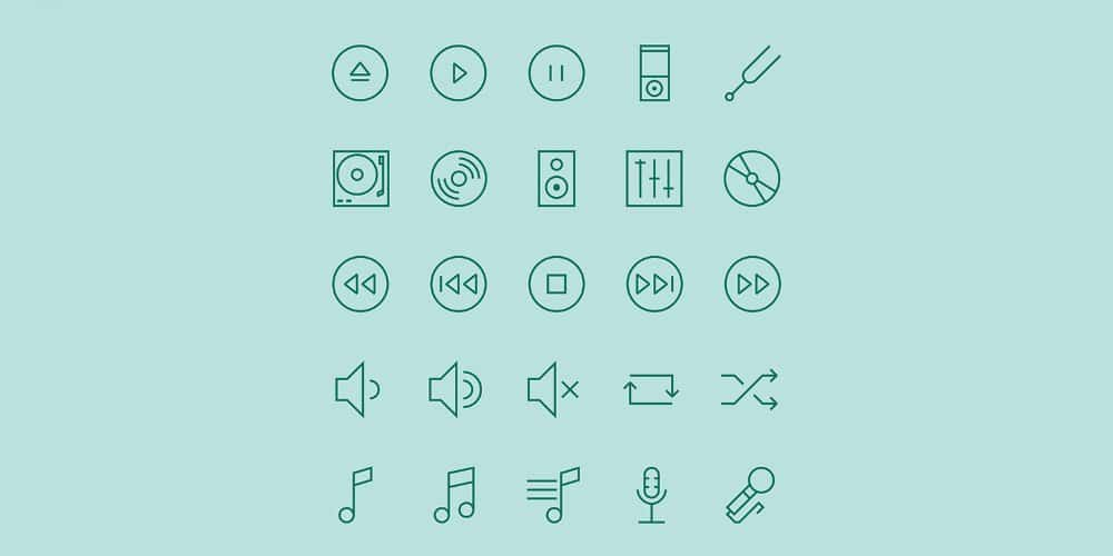 Music Free Linear Icons