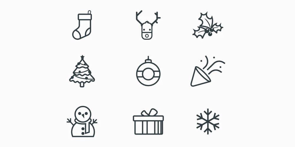 New Year Line Icons