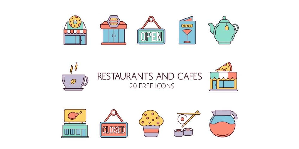 Restaurants and Cafes Vector Icons
