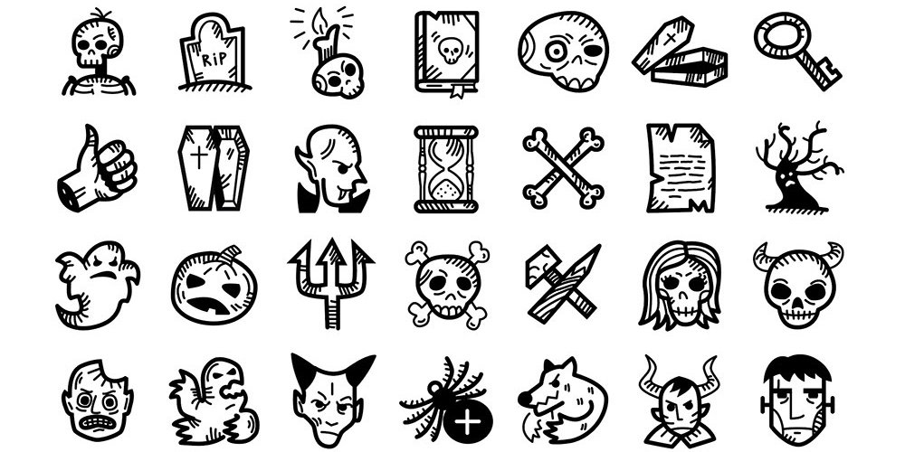 Spooky Halloween Handdrawn Icons