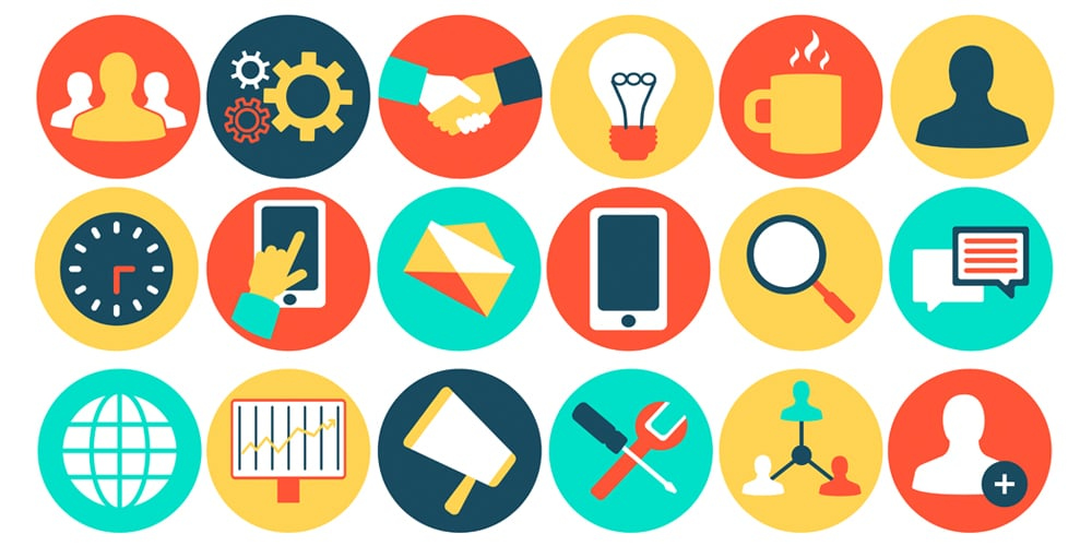 Teamwork Business Icons Vector