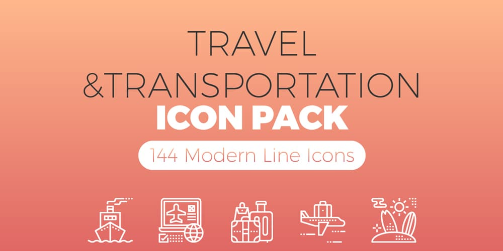 Travel & Transportation Line Icons