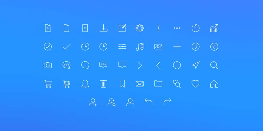 Web Stroke Icon Set PSD