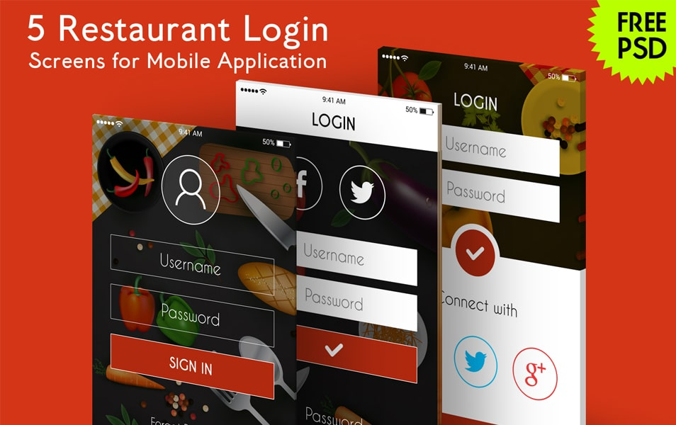 5 Restaurant Login Screens for Mobile App