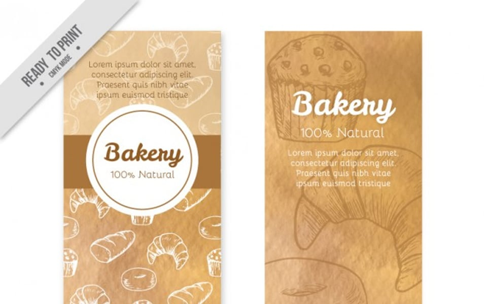 Bakery banners of hand drawn products