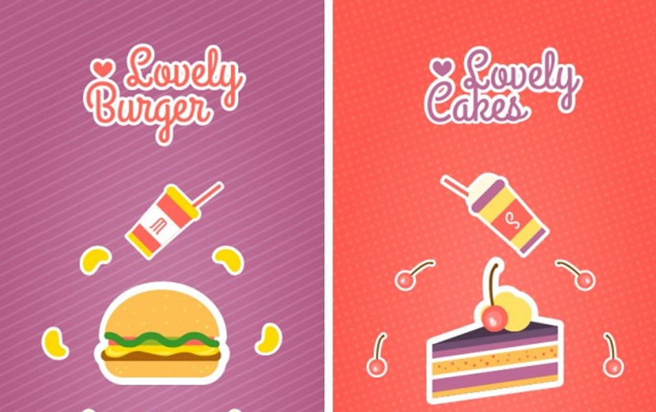 Burger and cakes banners