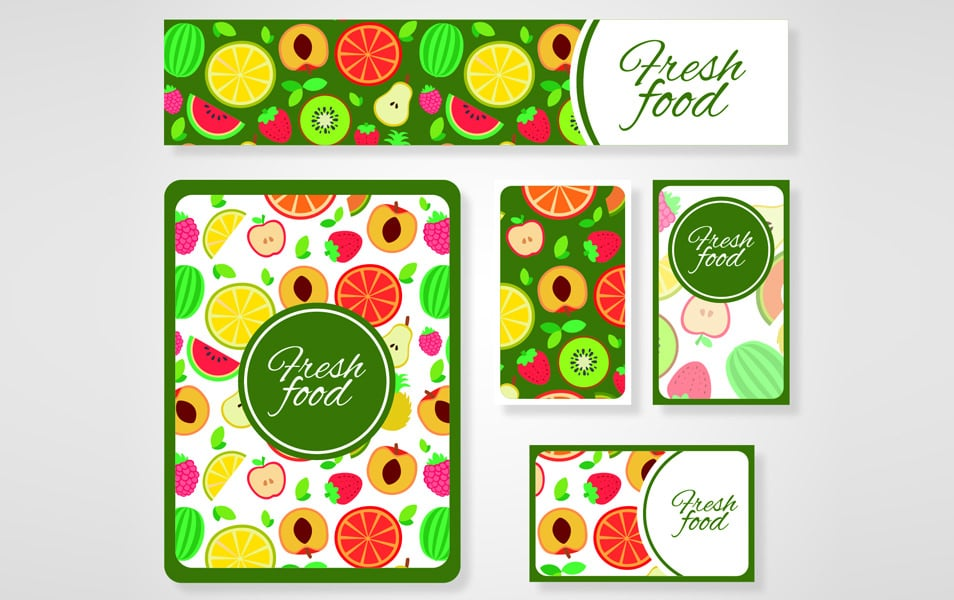 Colorful fresh food card templates