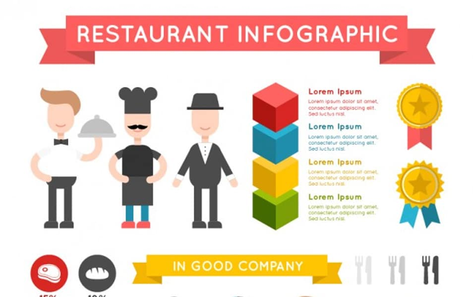 Colorful restaurant infography with infographic elements