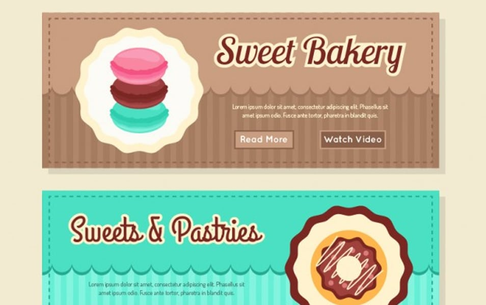 Coloured bakery banners