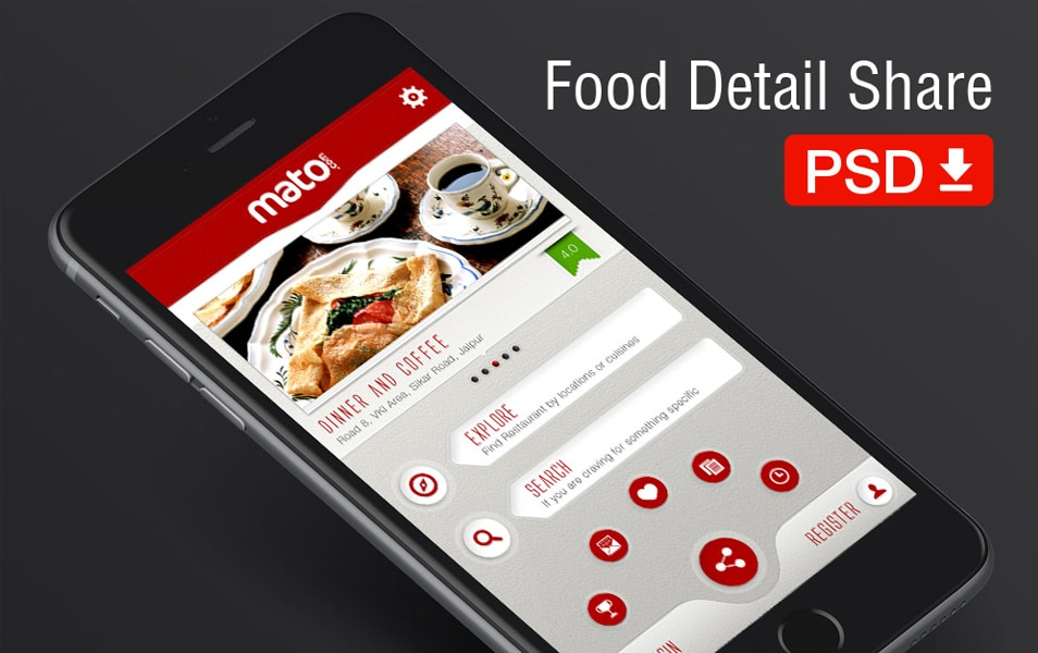 Food App Detail Mobile UI for iPhone 6