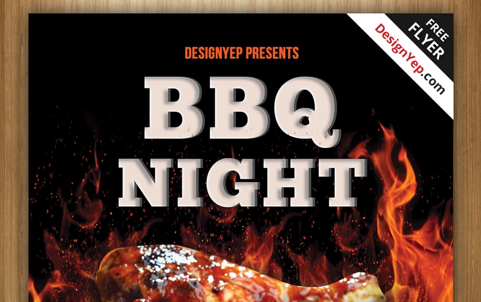 Free Barbeque Night Flyer PSD Template