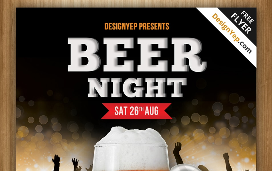 Free Beer Night Flyer PSD Template
