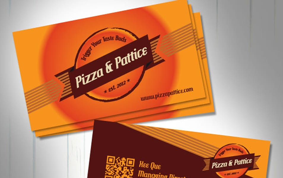 Free Vector Pizza & Pattice Business Card Design Template
