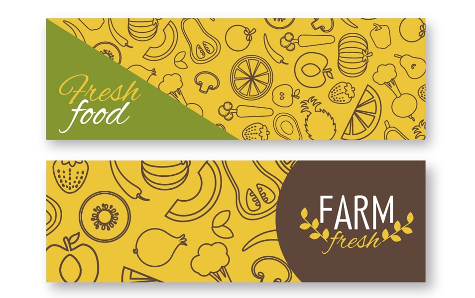 Fresh vegetables banner set