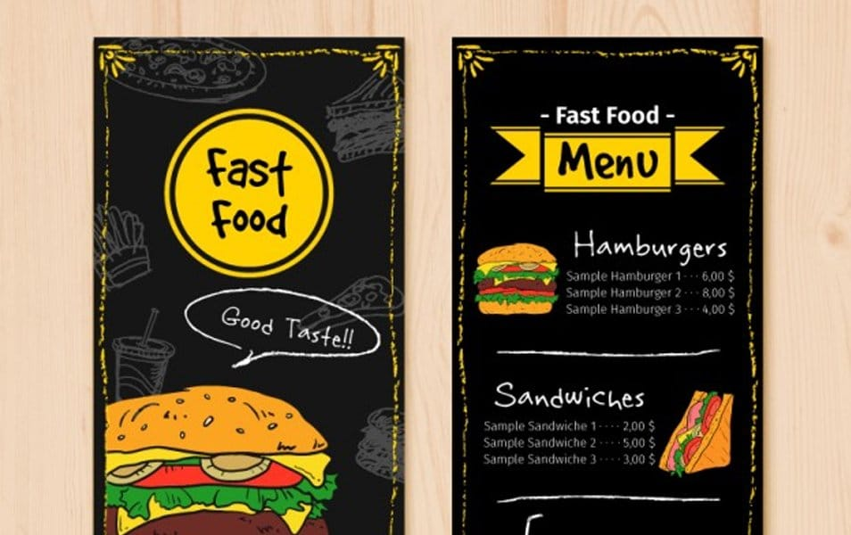 Hand drawn fast food menu