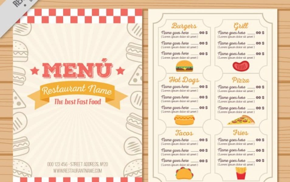Hand drawn vintage menu template