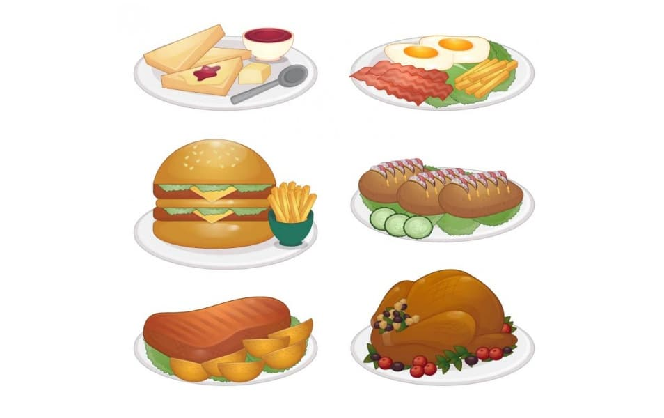 Plates of Food Illustrations Set