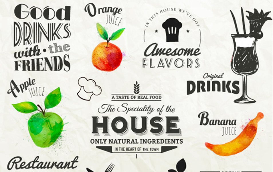 Retro labels with fruits