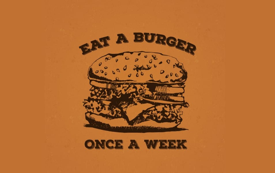 Retro poster with a burger
