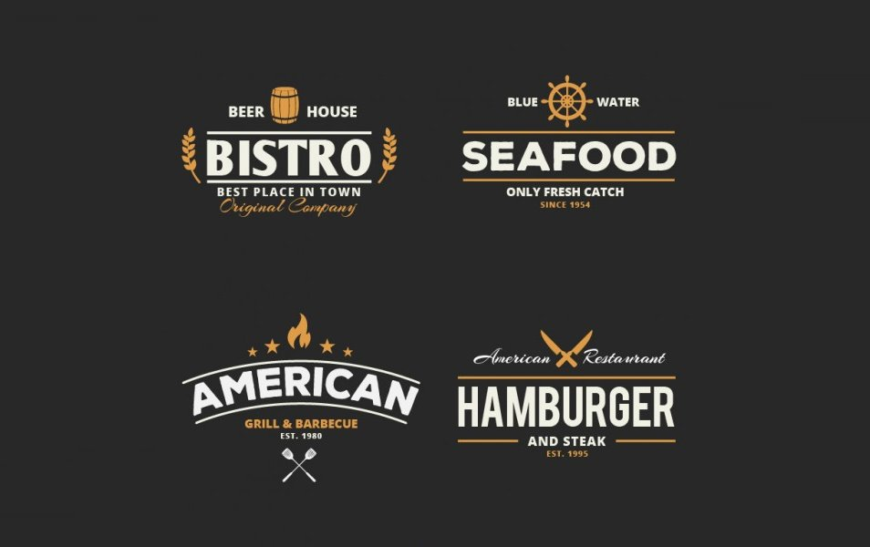 Retro restaurant badges