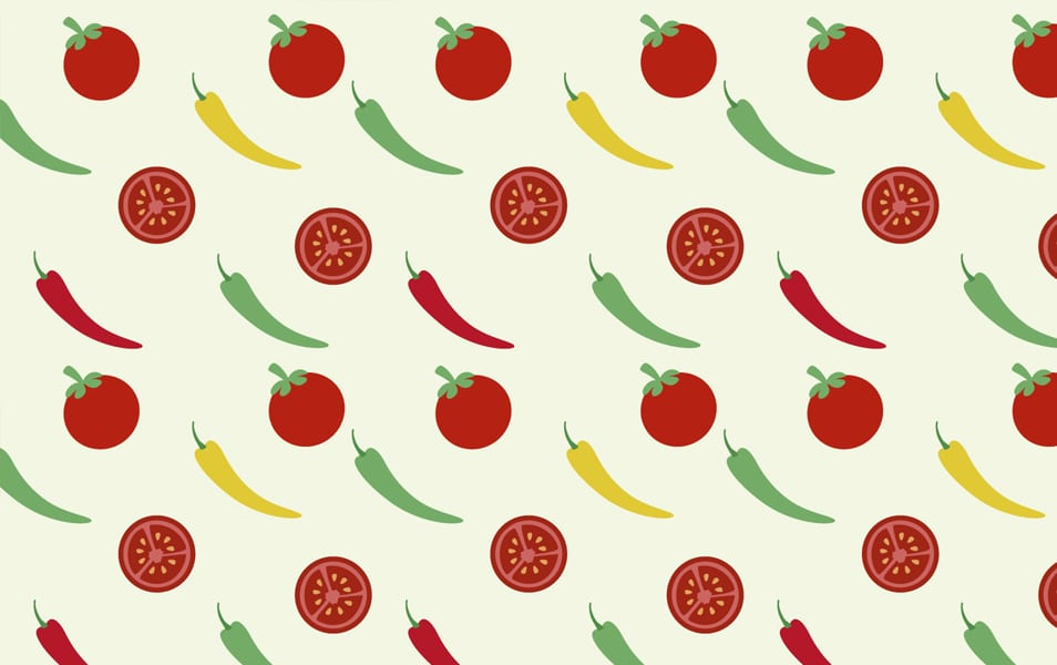 Tomatoes and peppers background